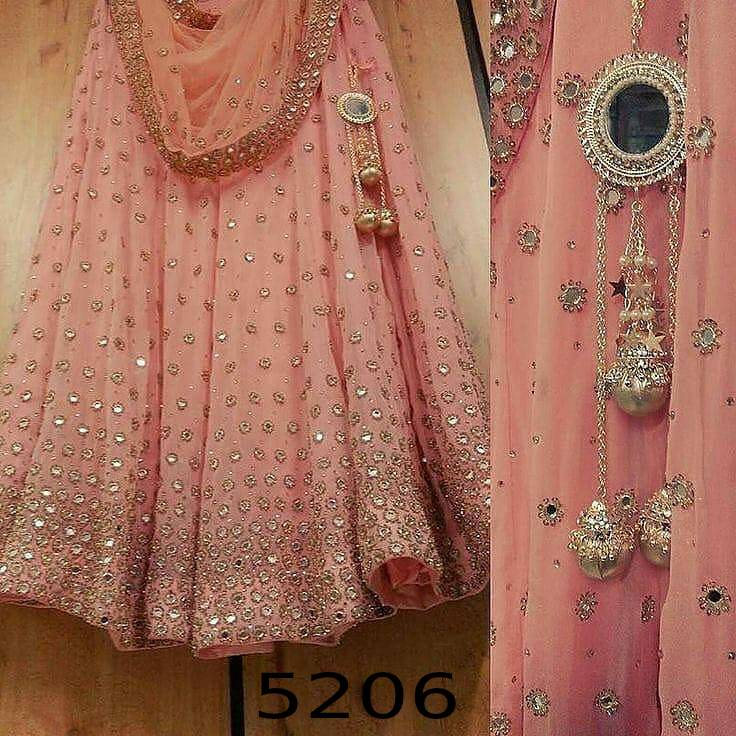 Peach Georgette Mirror Work Latest Party Lehenga Choli Online