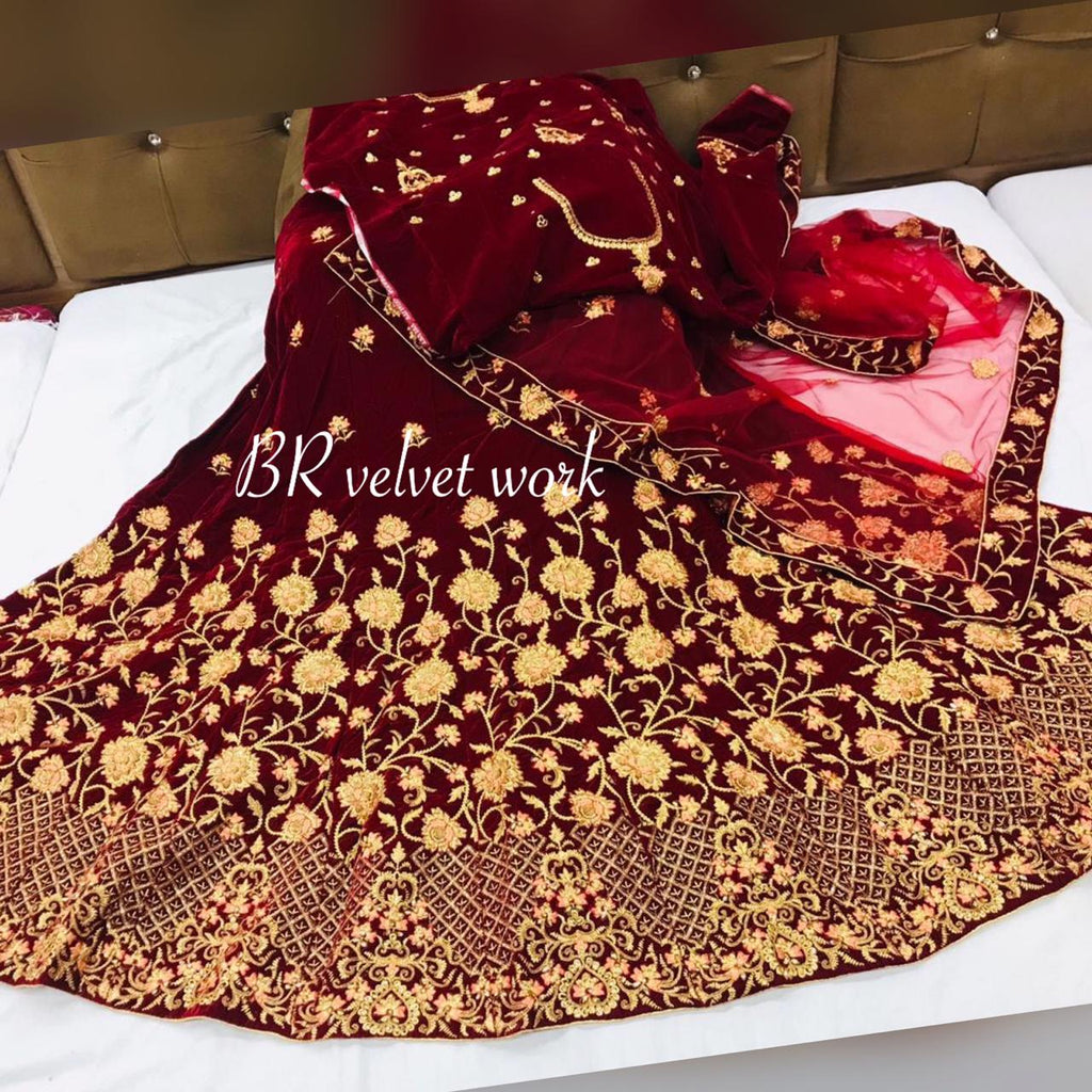Maroon Velvet Embroidered Gorgeous Wedding Lehenga Choli