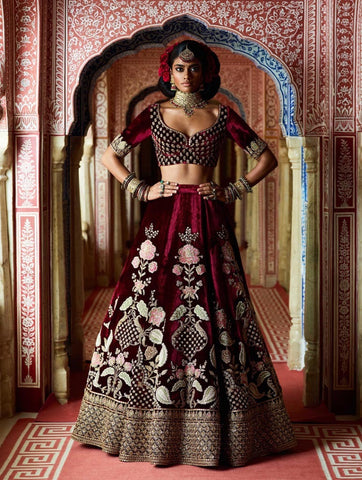 Maroon Embroidered Velvet Latest  Indian Wedding Dress Lehenga Online Shopping