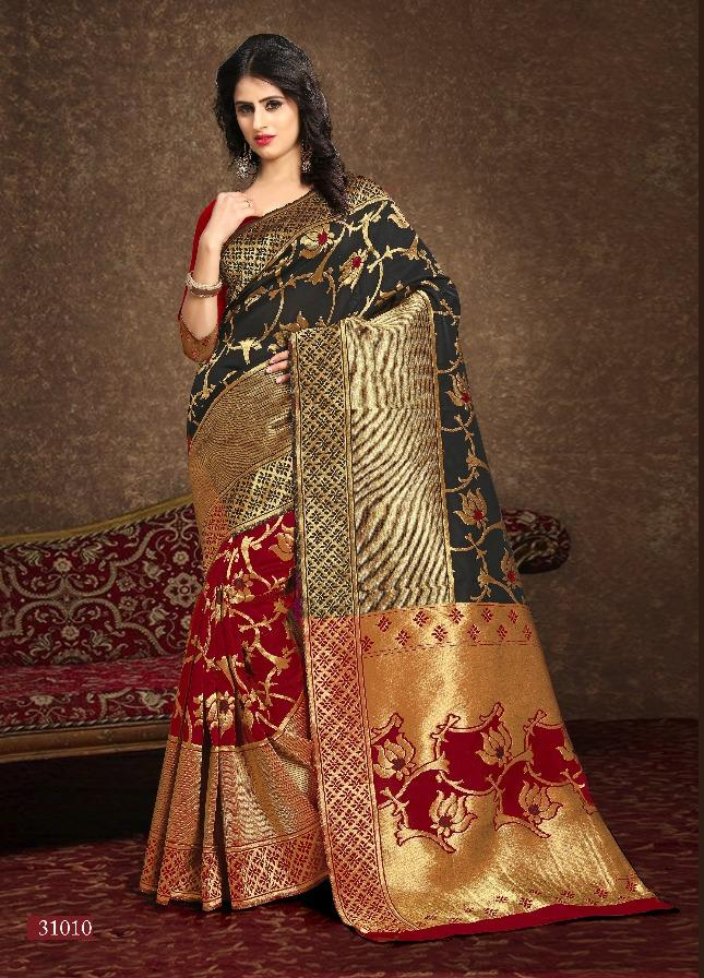 Elegant Black Red And Gold Banarsi Silk Traditional Indian Sarees