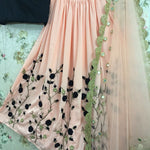 Peach Embroidered Croma Silk Fashion Lehenga Choli