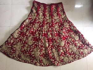 Maroon Velvet Bollywood Wedding Lehengas Online Dresses ,Indian Dresses - 5