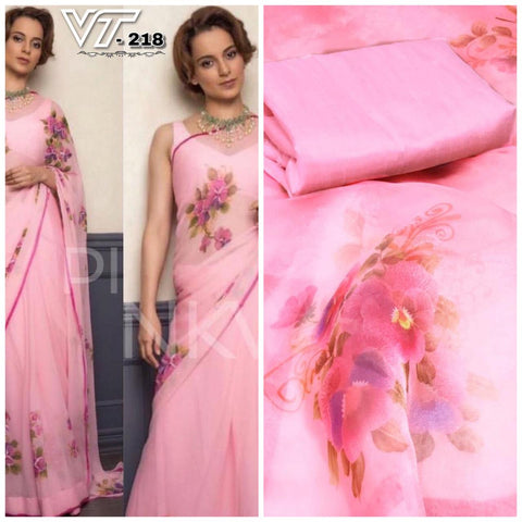 Kangana Ranaut Pink Floral Printed Organza Beautiful Saree Latest Collection
