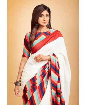 Shilpa Shetty White Silk Digital Print Indian Saree  Online Shopping