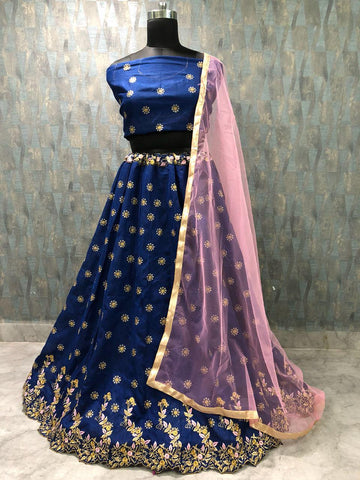 Blue Banglori Silk Lehenga Choli Online Shopping Low Price