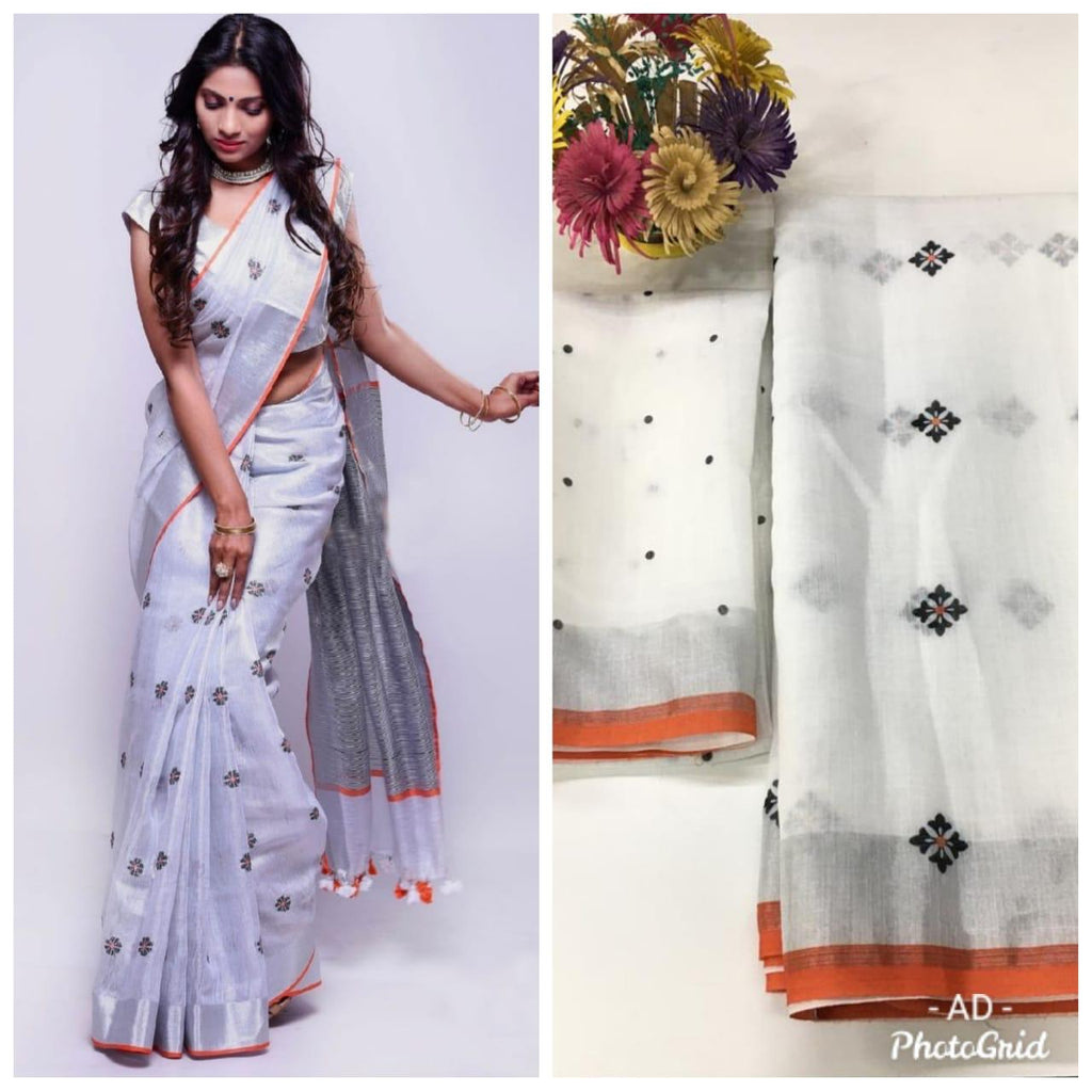 White Linen Digital Print Latest Saree In India Online