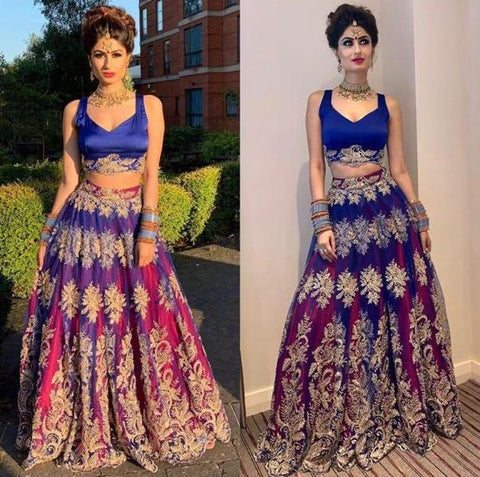 Blue Embroidered Lehenga Choli Online Shopping Low Price
