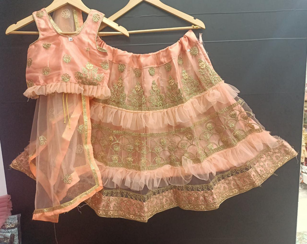 Peach Net Ready To Wear Kids Lehenga Blouse With Dupatta