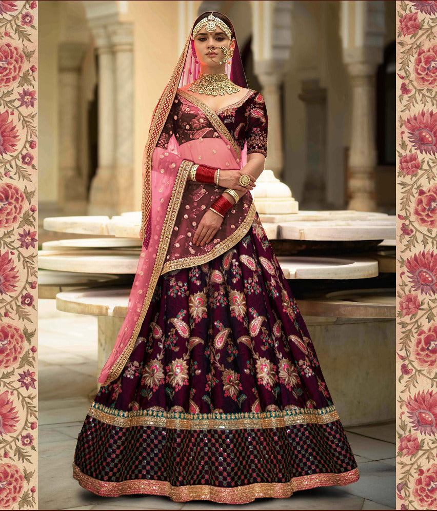 Purple Taffeta Silk Heavy Embroidered  Wedding Lehenga Blouse Online