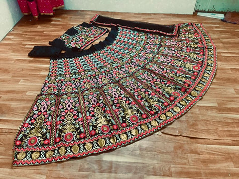Black Taffeta Silk Multi Color Embroidery Latest Lehenga Choli Designs