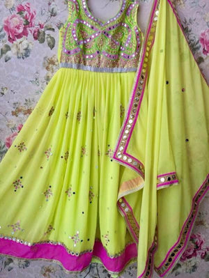 Green Mirror Work Anarkali Salwar Kameez Indian