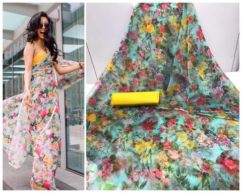 Multi Color Floral Digital Printed Latest Organza Saree and Yellow Blouse Set