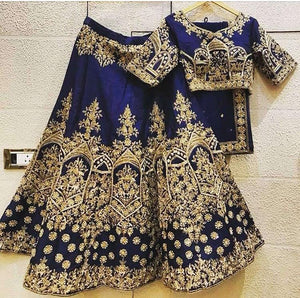 Navy Blue Silk Embroidered Fancy Wedding Dresses Lehenga Choli
