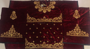 Maroon Velvet Heavy Embroidered Traditional Bridal Lehenga Choli