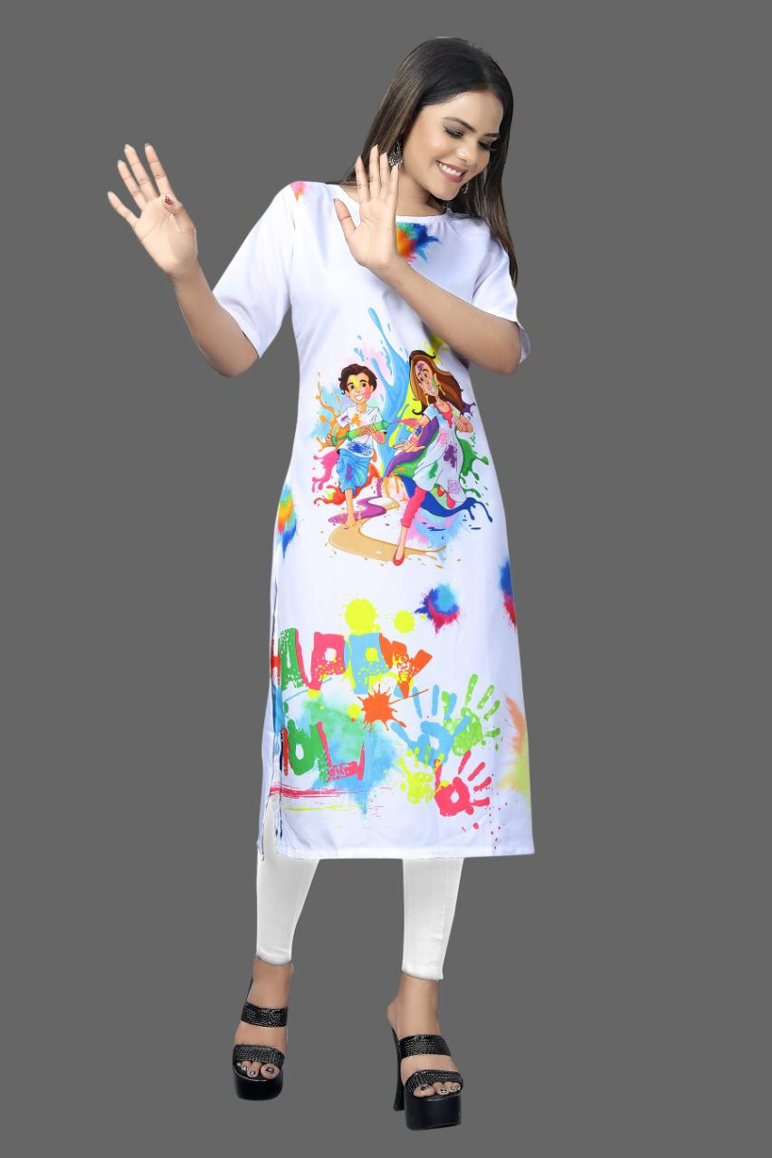 Digital Print White Crepe Kurtis For The Festivals Of Colors