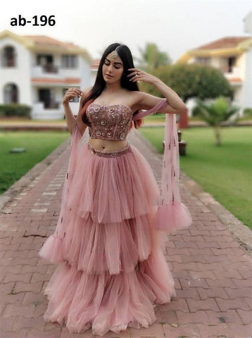 Peach Puff Net Layered Latest Party Wear Lehenga Choli Online