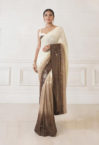 Beige Ombre Sequin Saree in Georgette with Satin Blouse