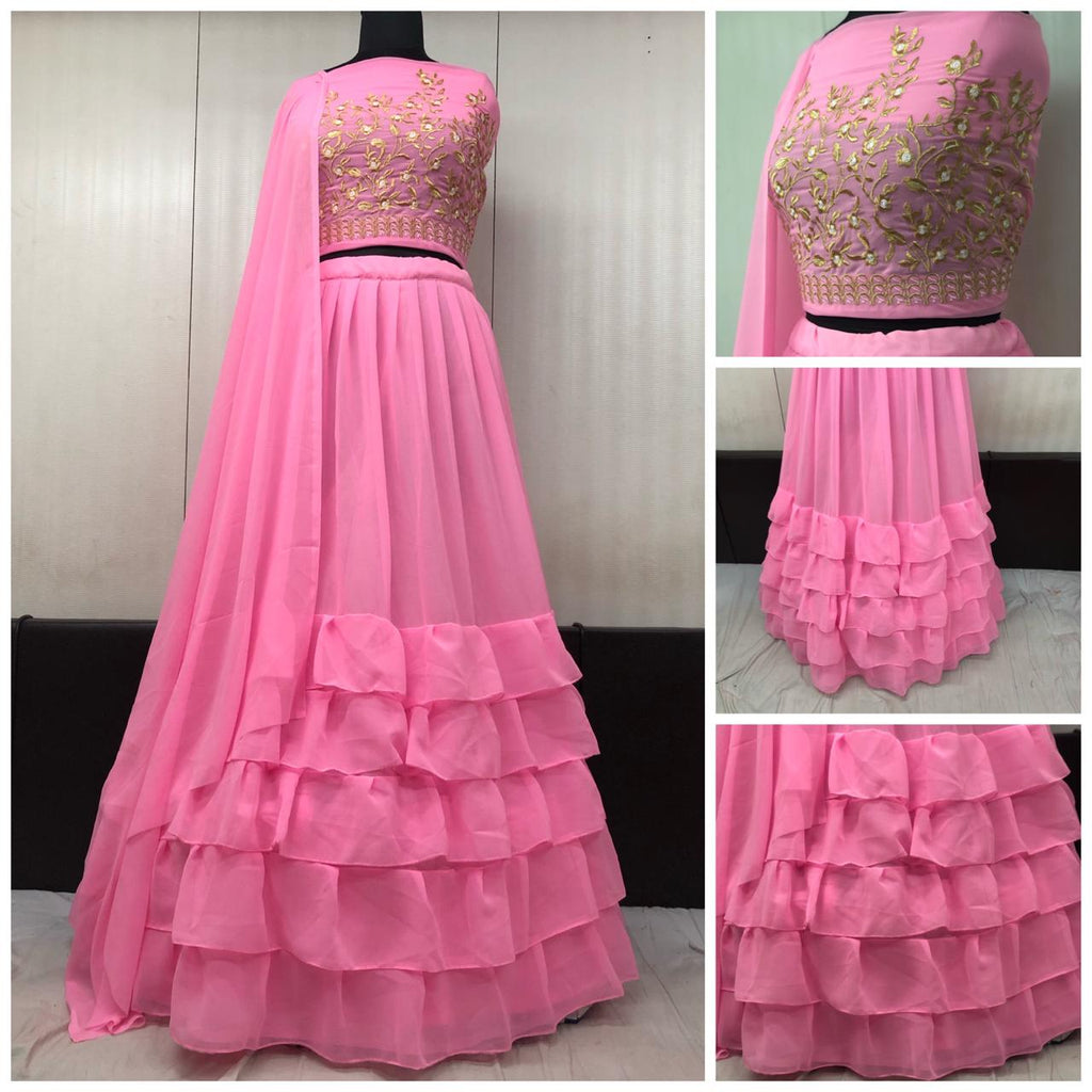 Pink Georgette Ruffle Latest Party Lehenga Choli With Dupatta
