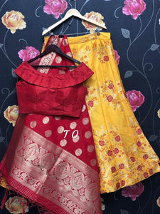 Banarasi Brocade Silk Lehenga Yellow with Red designer Blouse