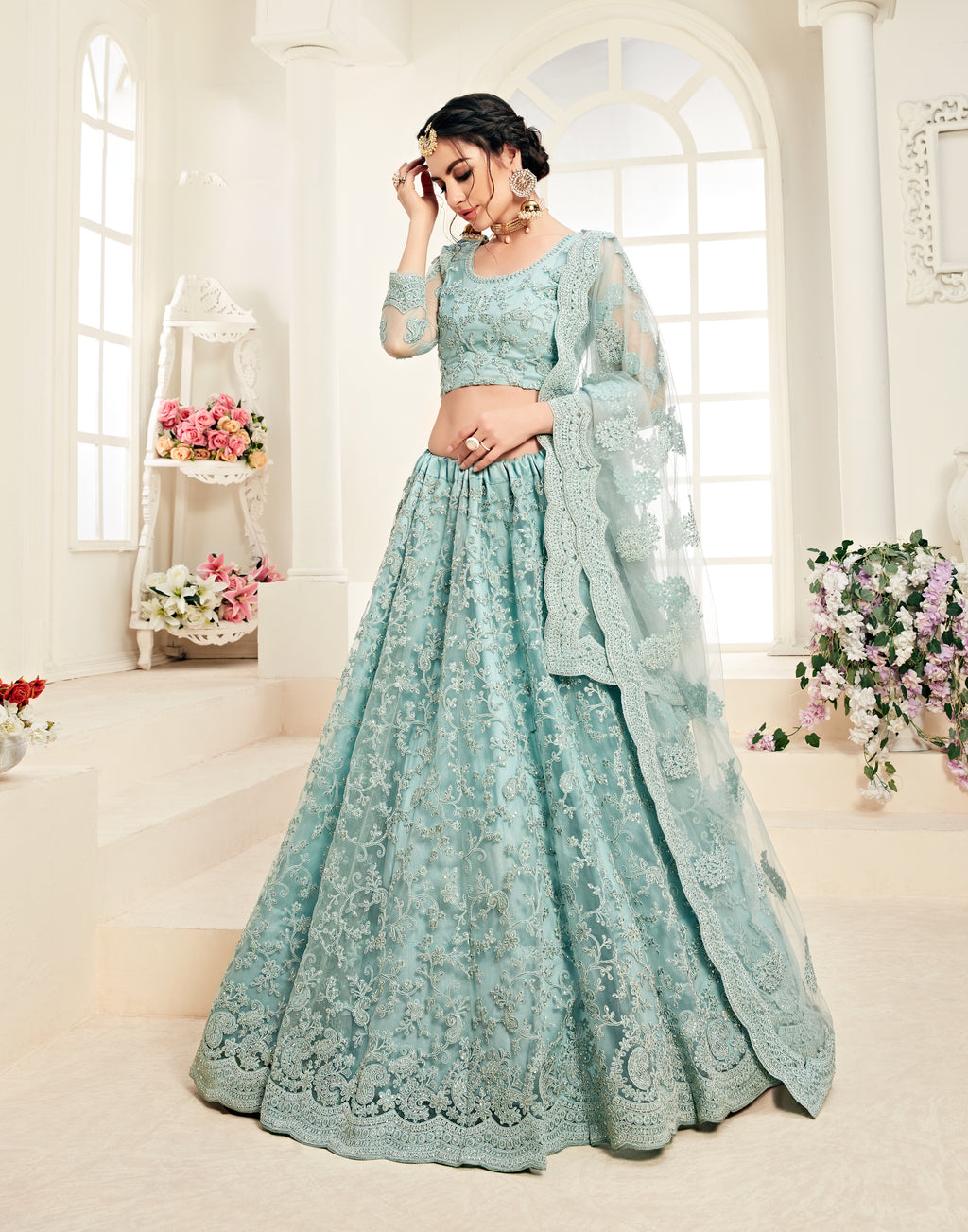 Light Bluish Grey Net Embroidered Indian Weddding Lehenga Choli