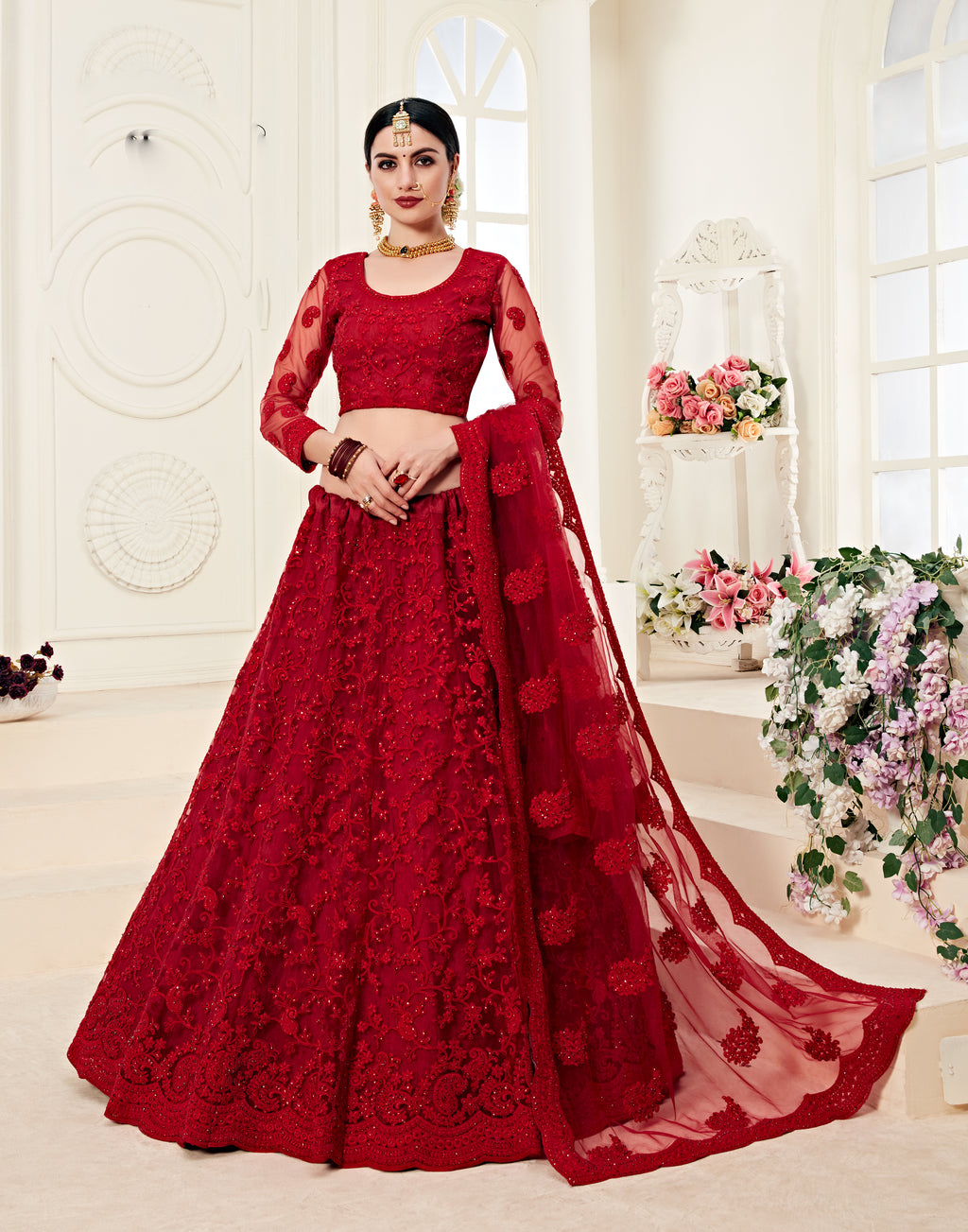 Red Net Embroidered Latest Designer Wedding Lehenga Blouse