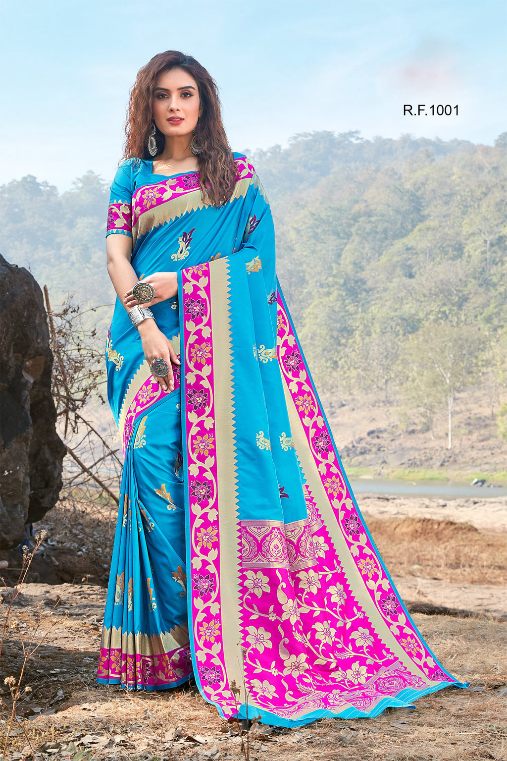Sky Blue Art Silk Shopping Sarees Online