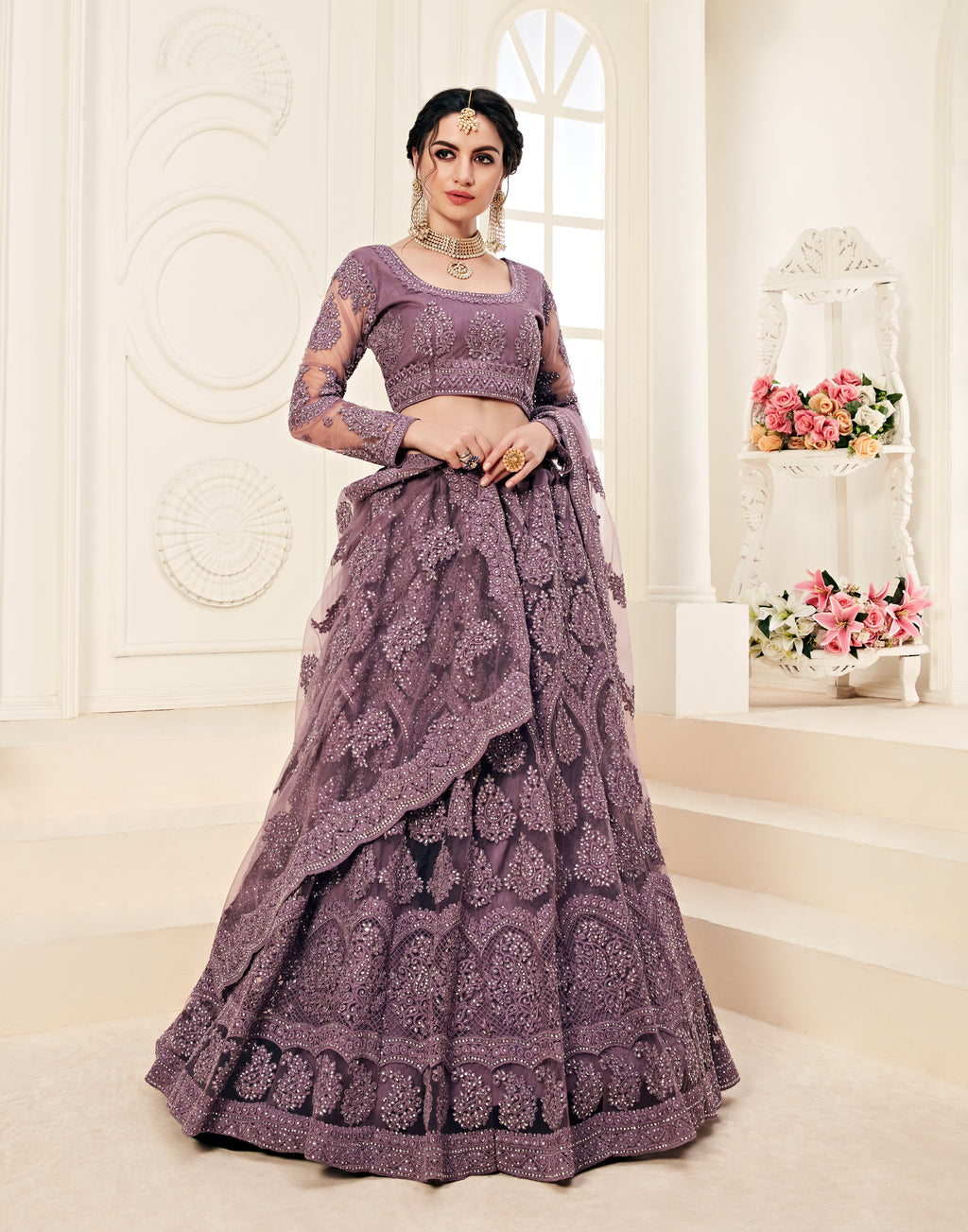 Mauve Taupe Net Embroidered Lehenga Choli Wedding Dresses
