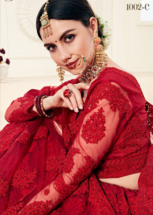 Red Net Embroidered Wedding Ghagra Choli Online Shopping