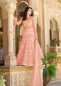 Peach Puff Embroidered  Party Wear Salwar Kameez For Wedding