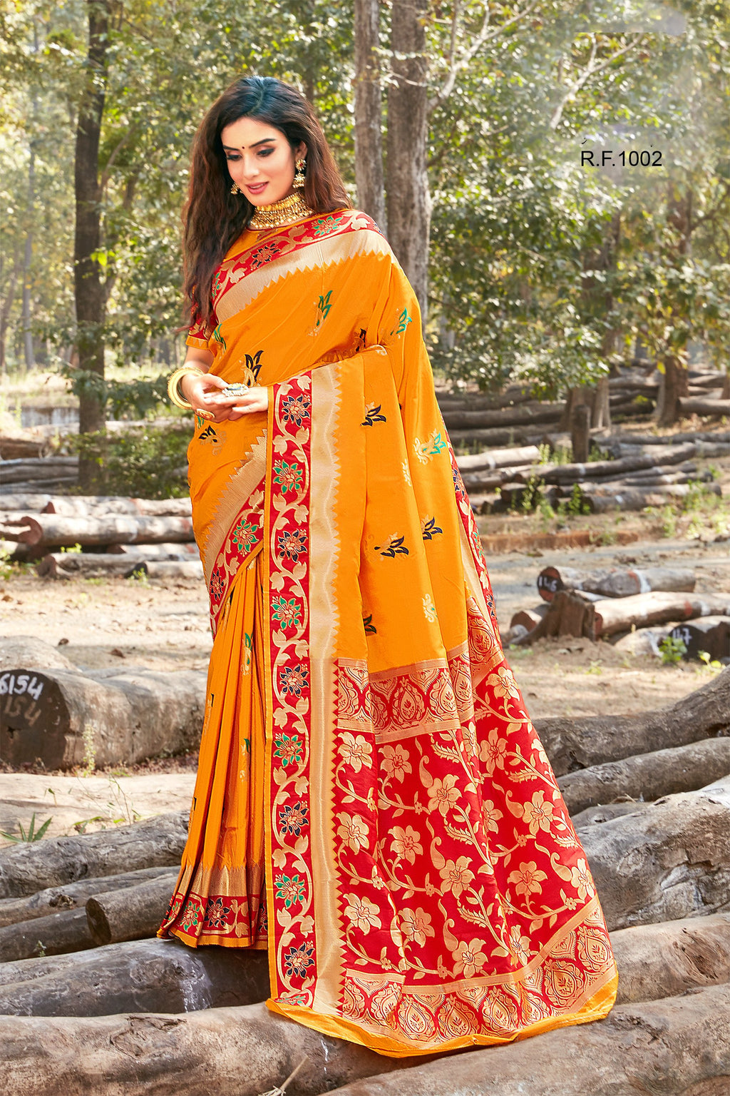 Orange Art Silk Online Purchase Of Sarees