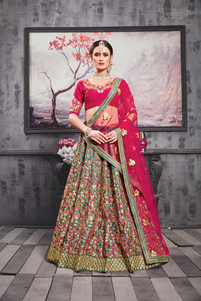 Teal Green Embroidered Silk Beautiful Lehenga Choli For Wedding Wear