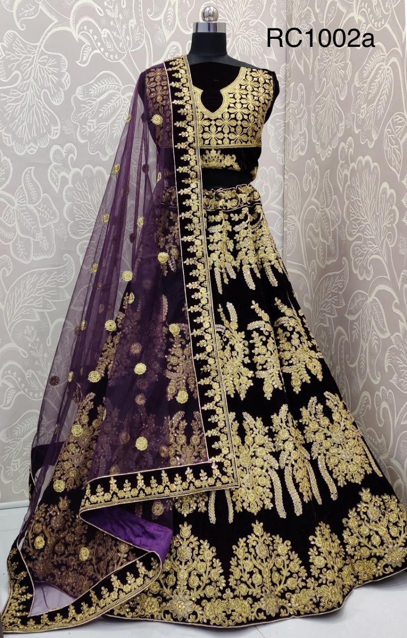 Dark Blue Velvet Embroidered Ghagra Choli Designs With Price