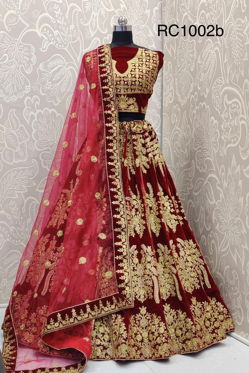 Maroon Velvet Embroidered Beautiful Indian Ghagra Choli