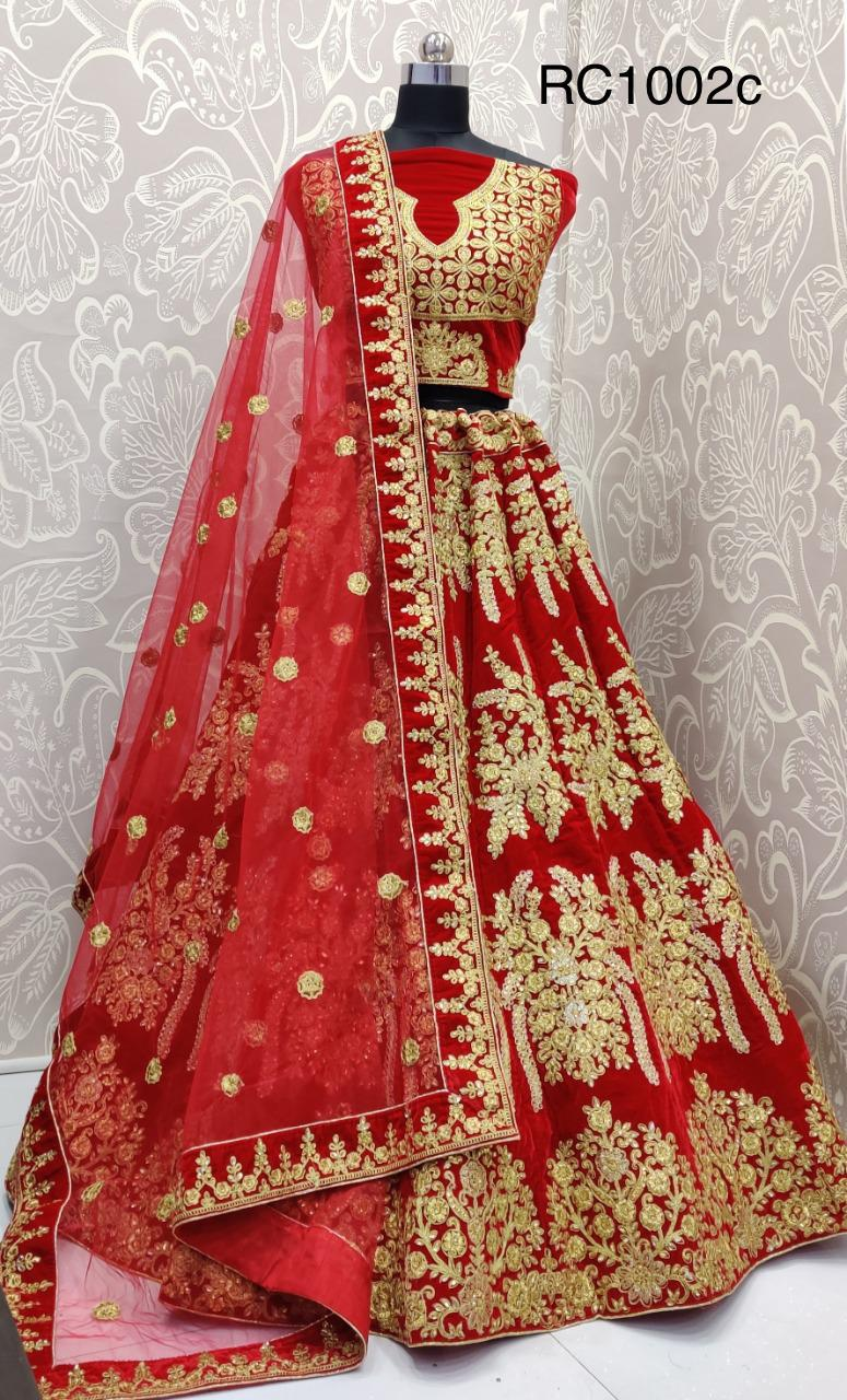 Red Velvet Embroidered Fancy Lehenga Choli Designs