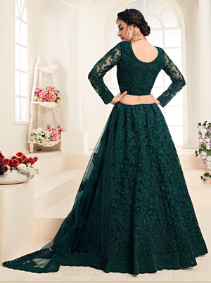 Dark Green Net Embroidered Indian Wedding Lehenga Designs