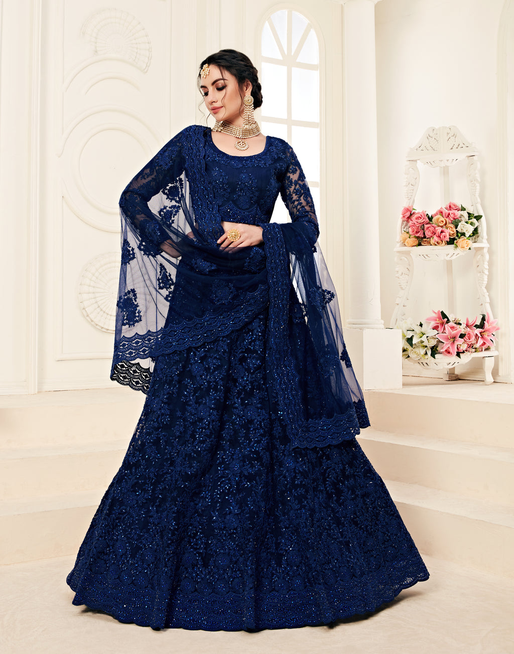 Embroidered Navy Blue Wedding Stylish Lehenga Choli Online Shopping