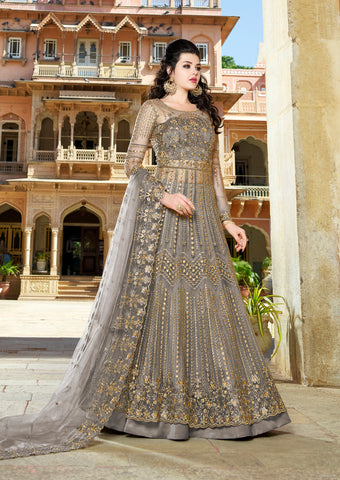 Grey Net Embroidered Gown Style Salwar Kameez For Wedding