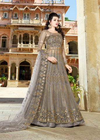 Light Grey  Net Embroidered Anarkali  Indian Party Wear Salwar Kameez