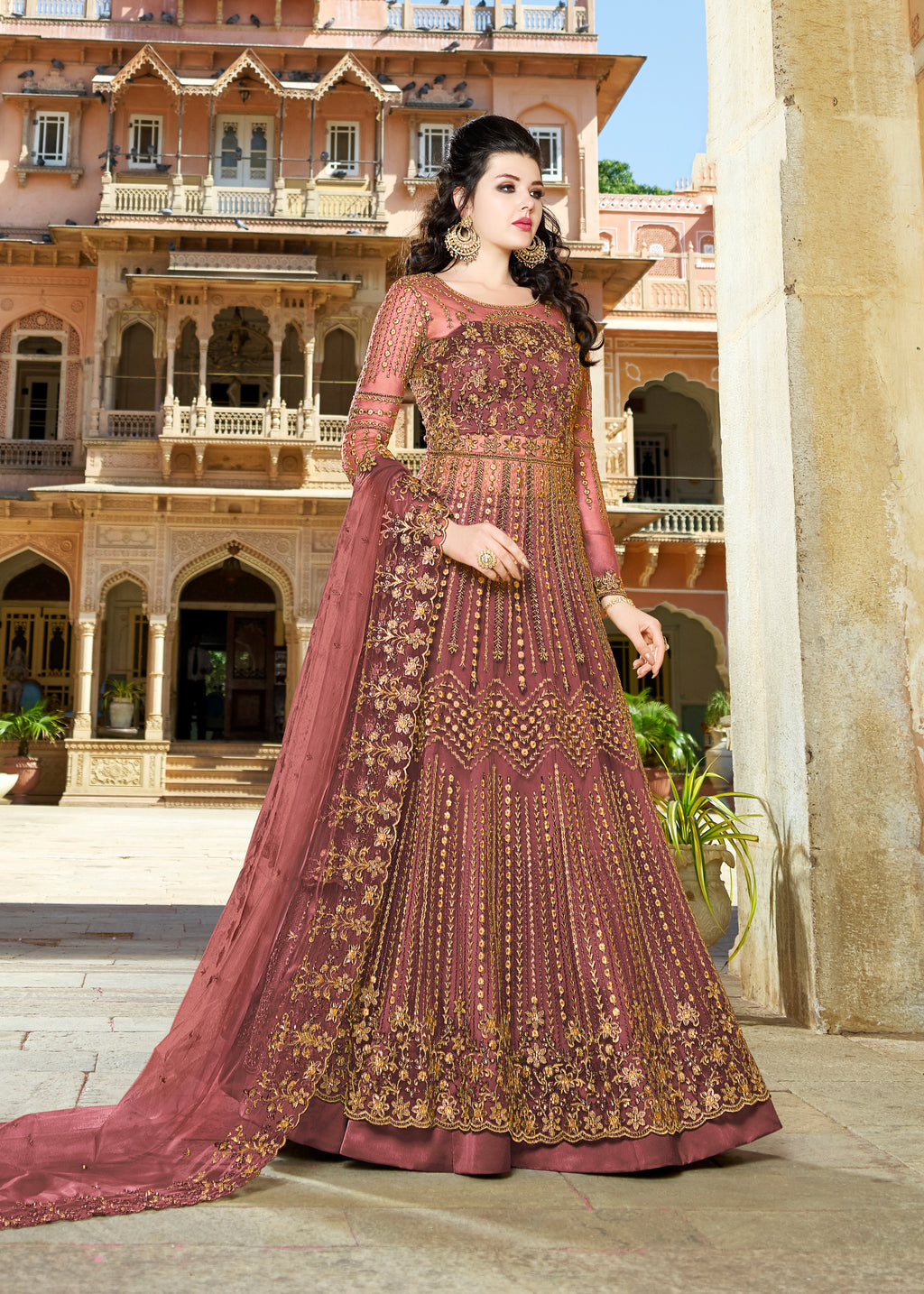 Dusty Pink Net Embroidered Anarkali Indian Salwar Suits Designs