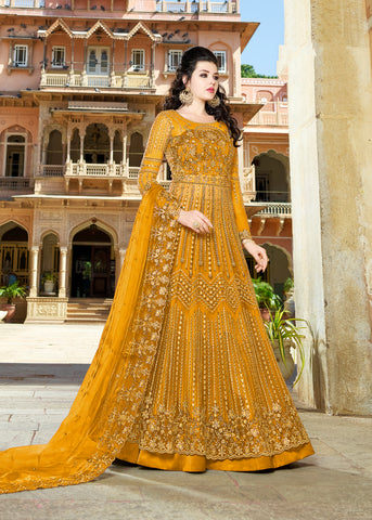 Yellow Net Embroidered Anarkali Indian Fashion Salwar Kameez
