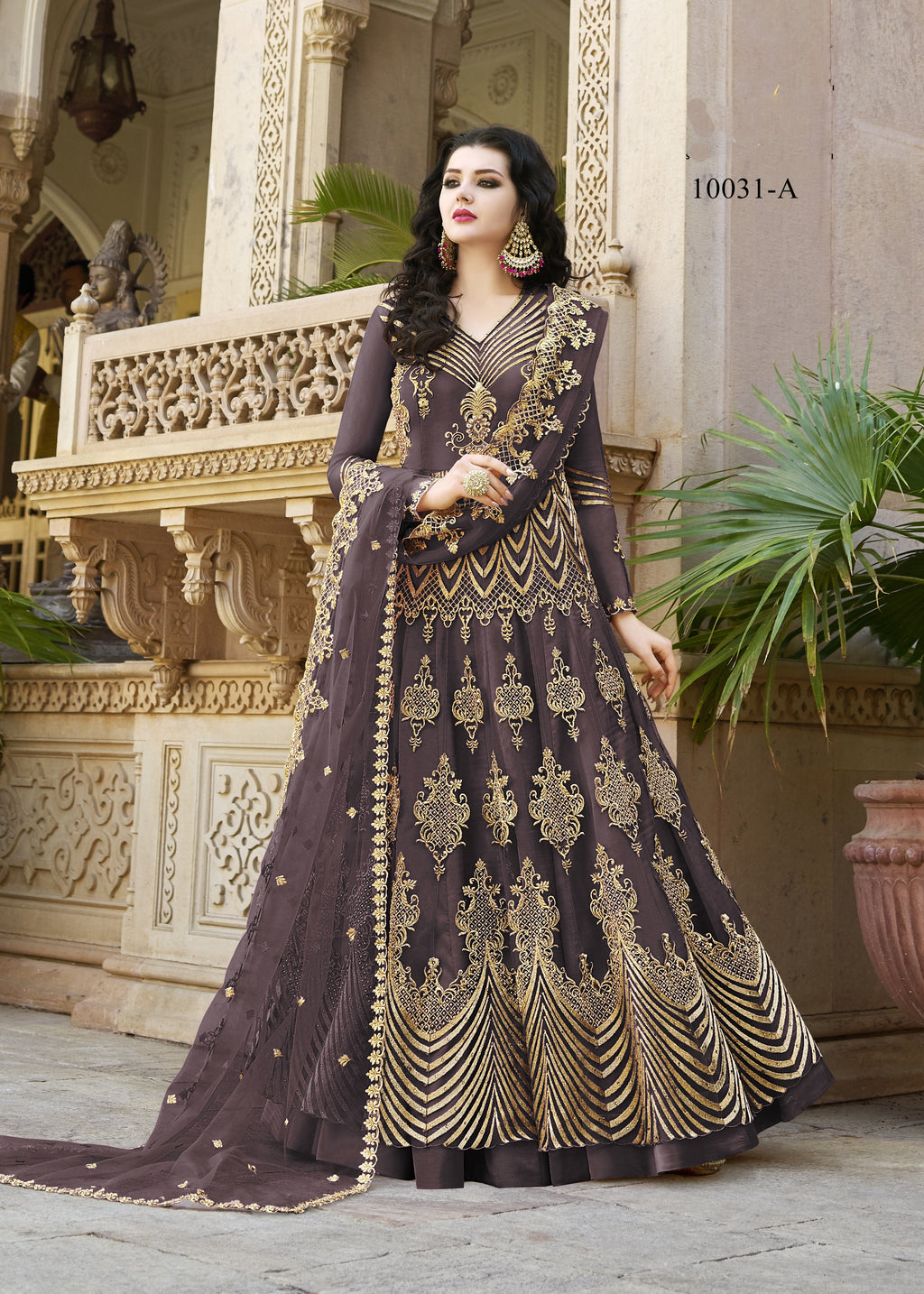 Mauve Net Embroidered  Anarkali Indian Salwar Suits Online Shopping