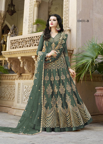 Green Net Embroidered Anarkali Online Shopping For Designer Suits