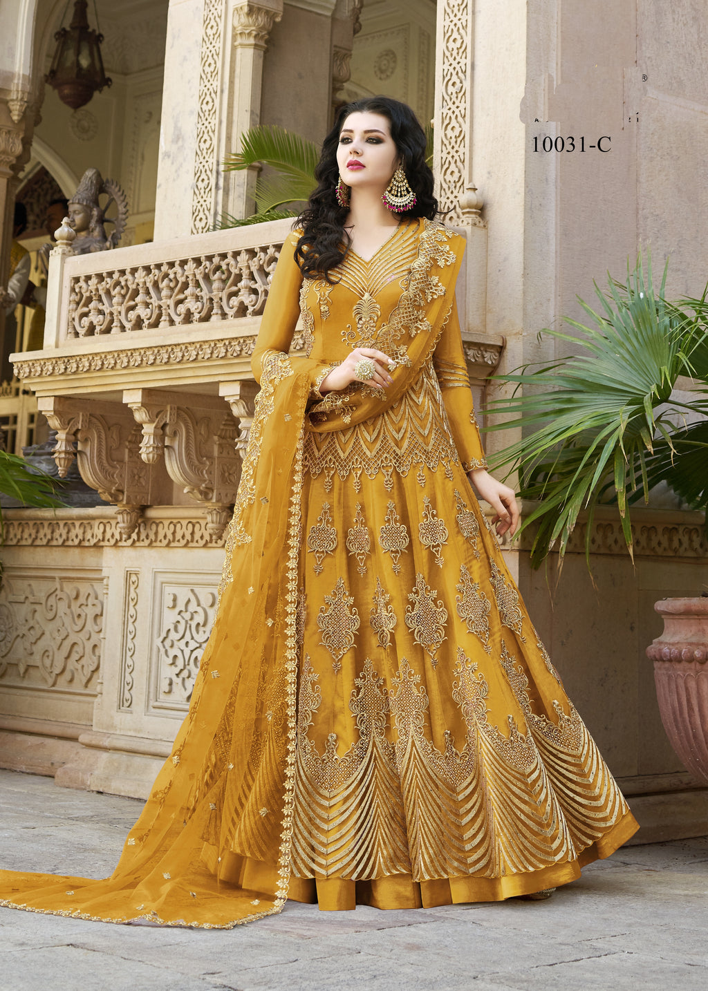 Yellow Net Embroidered Anarkali Latest Salwar Suit Design In India