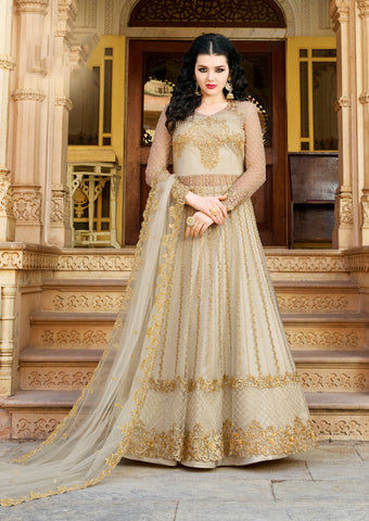 Light Beige Net Embroidered  Anarkali Long Sleeve Salwar Kameez