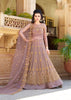 Lilac Net Embroidered Long  Anarkalis Suits For Party Wear