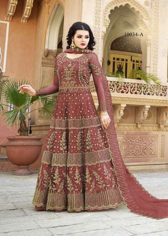 Brick Red Embroidered Net Long Anarkali New Design Suit