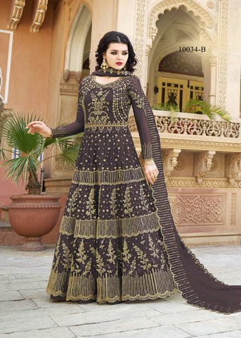Deep Wine Embroidered Net New Collection Of Anarkali Suits