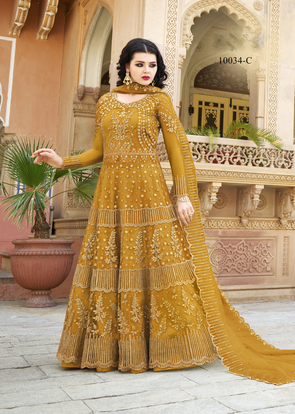 Mustard Embroidered Net Anarkali Latest Trends In Salwar Kameez