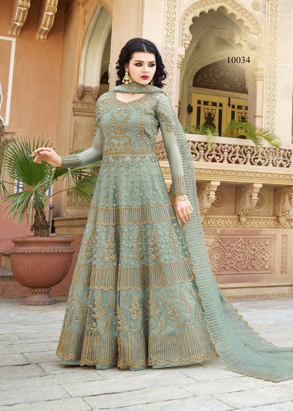 Sage Green Embroidered Net Long Anarkali Latest Salwar Fashion