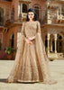 Beige Net Embroidered Party Wear Anarkali Dress Designs Indian